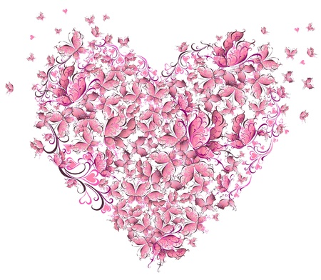 Floral Love Shape  Heart of butterflies  Valentine Day card  Vector