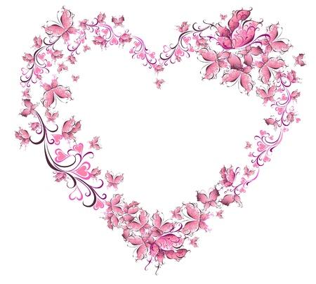 страсть: Цветочные формы сердца любовь к бабочкам День Святого Валентина карта Иллюстрация