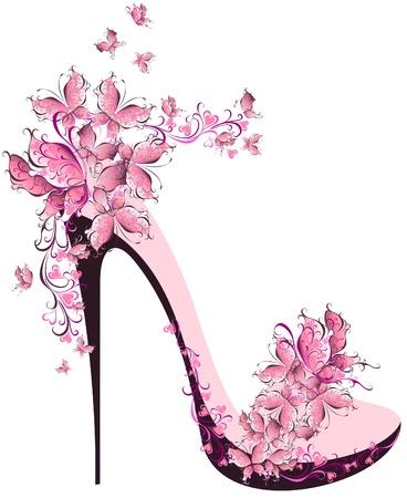 calcanhares: Sapatos em um salto alto decorado com borboletas Ilustração