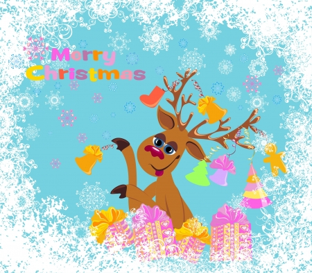 Christmas card with funny Reindeer Vector