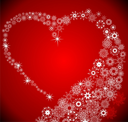 Heart from snowflake blizzard Vector