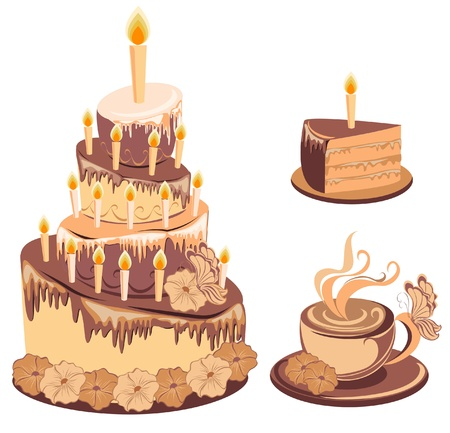 Chocolate birthday cake and coffee Stock Vector - 16389184