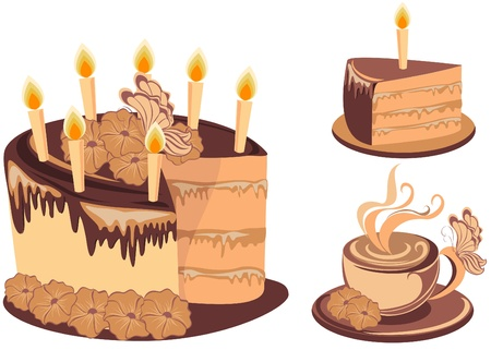 Chocolate birthday cake and coffee Vector