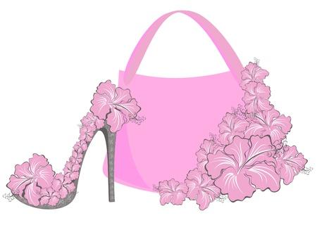 designer bag: Hermosas mujeres zapatos y bolsos Vectores