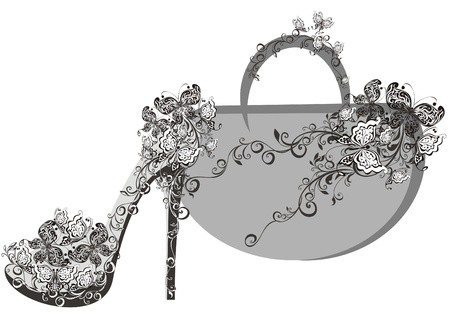 shoe shop: Beautiful female shoes and bags
