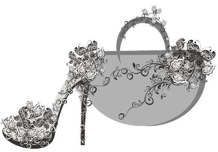 tienda de zapatos: Hermosas mujeres zapatos y bolsos Vectores