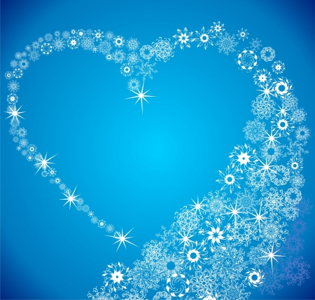 Love Shape  Heart of snowflakes Vector