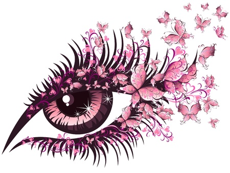 papillon rose: Belle femme avec des yeux papillons Illustration