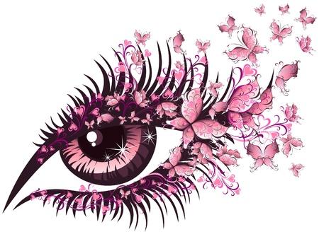 eyes: Mooi vrouwelijk oog met vlinders Stock Illustratie