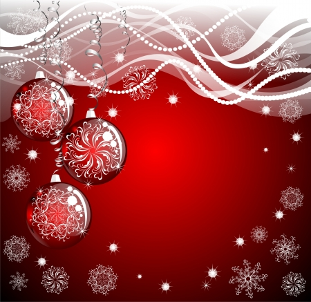 red evening: Christmas background with red evening balls