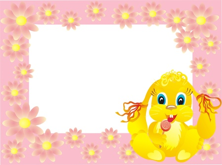 Baby framework with bunny, vector illustration Vector