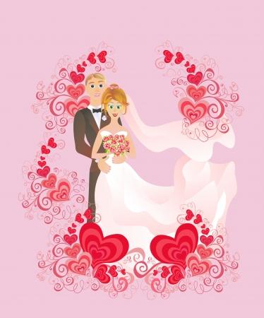 wedding reception: Wedding background  Cartoon bride and groom