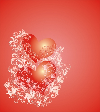 Vector valentines background with two hearts and floral ornament Vector
