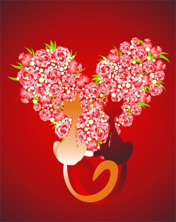 Two enamored cats against Heart from roses Vector