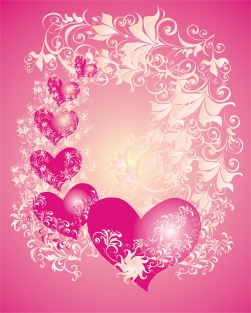 valentine s card: Vector valentines background with two hearts and floral ornament Illustration