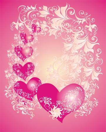 Vector valentines Hintergrund mit zwei Herzen und Blumen-Ornament