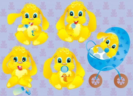 Set baby rabbit on a blue background  Vector