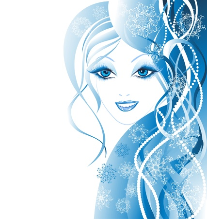 Beautiful winter women with snowflakes in hair