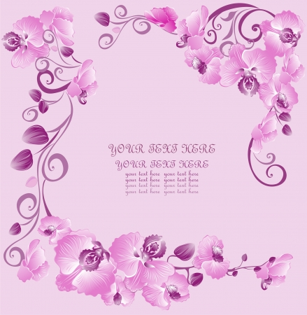 Floral background with orchids Illustration