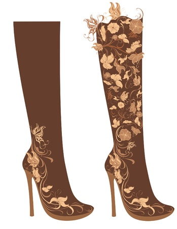 fashion shoes: Stylized floral shoes  Stiletto boots Illustration