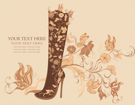 Fashion shoes on a floral background Vector