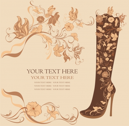 high heels shoes: Fashion shoes on a floral background