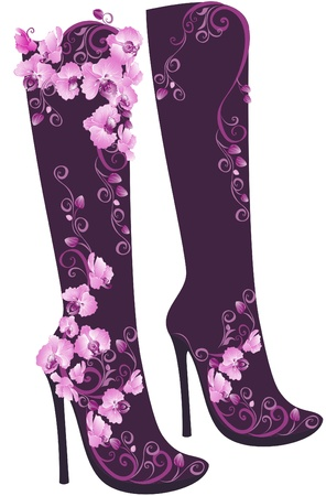 Stylized floral shoes  Stiletto High heel decorated of flowers Vector