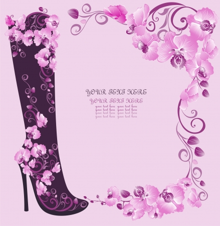 high heel: Stiletto high heels with orchids Illustration