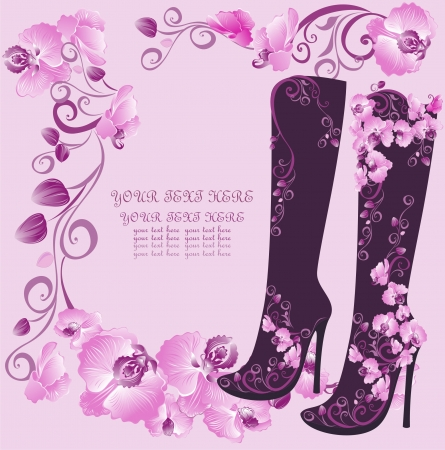 high: Stiletto high heels with orchids Illustration