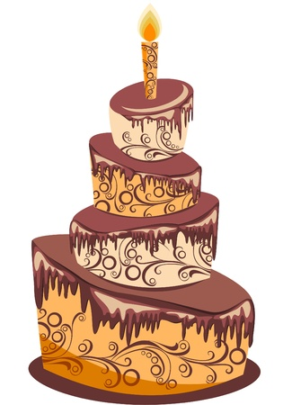 Chocolate birthday cake  Vector illustration Vector