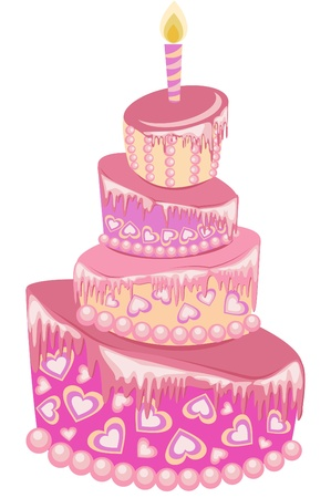 Sweet pink wedding cake isolated on a white Vector
