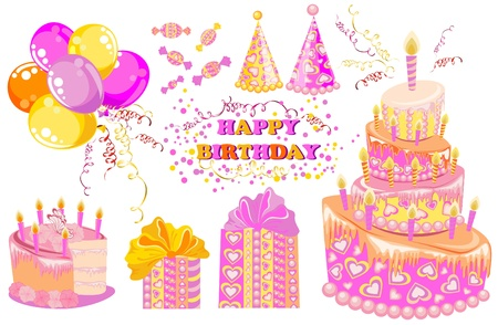 Sweet set for a birthday party, vector Vector