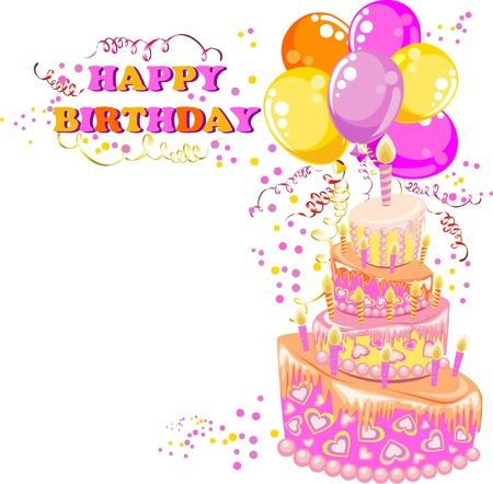 gateau anniversaire: Carte de joyeux anniversaire Illustration