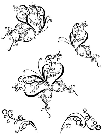 Set tattoo butterfly Stock Vector - 16468200