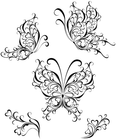 Set tattoo butterfly Stock Vector - 16468199