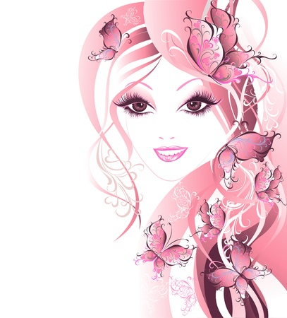 sensuality: Beautiful women with butterflies in hair Illustration