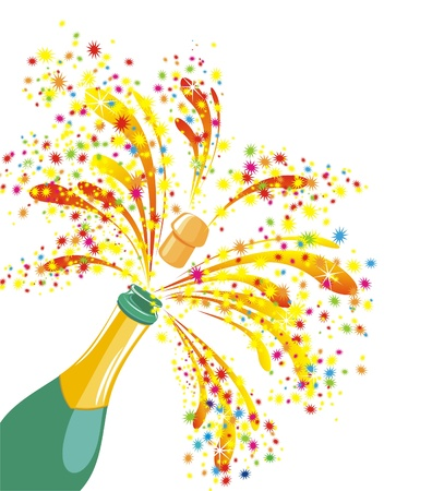 Champagne celebration  Open champagne bottle Ilustrace