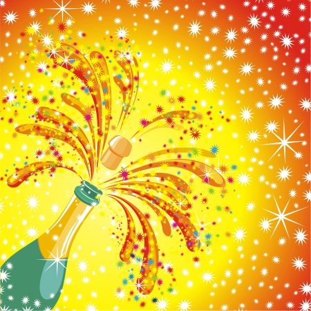 Champagne celebration  Open champagne bottle Vector