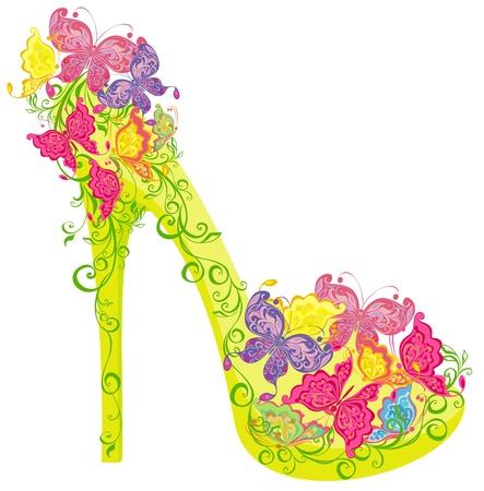 Chaussures sur un haut talon orné de fleurs et de papillons