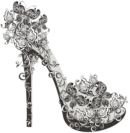 Shoes on a high heel decorated with flowers and butterflies Vector