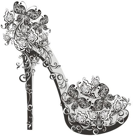 sandalias: Zapatos en un alto tal�n adornado con flores y mariposas