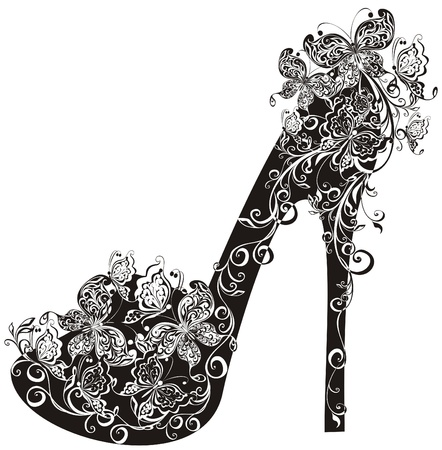high heel shoe: Shoes on a high heel decorated with flowers and butterflies