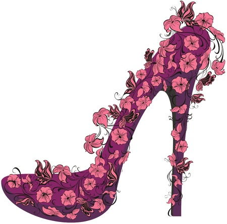 heels: Shoes on a high heel decorated with flowers and butterflies