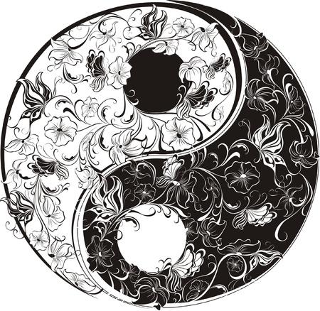 Floral Yin Yang Symbol Stock Vector - 16468214
