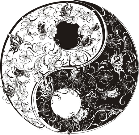 harmony with nature: Floral Yin Yang Symbol