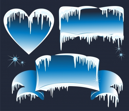 frozen water: Collection of winter banners with icicles