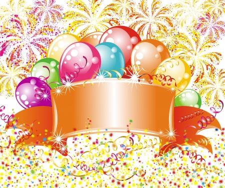 Festive fireworks and balloons  Birthday background Vector
