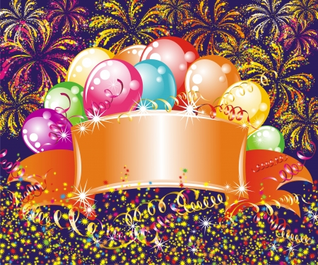 cartoon new year: Festive fireworks and balloons  Birthday background Illustration