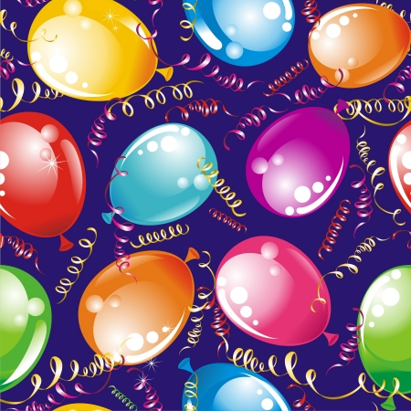 wrapper: Birthday seamless wallpaper with streamers and balloons Illustration