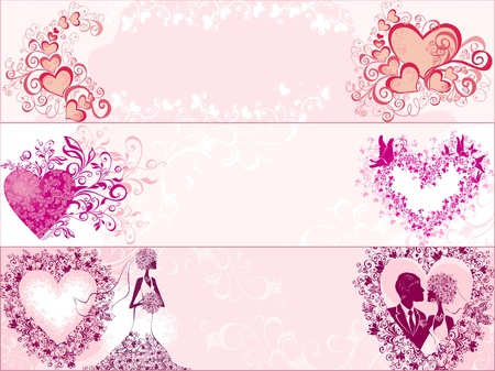 Three wedding banners with hearts Vector